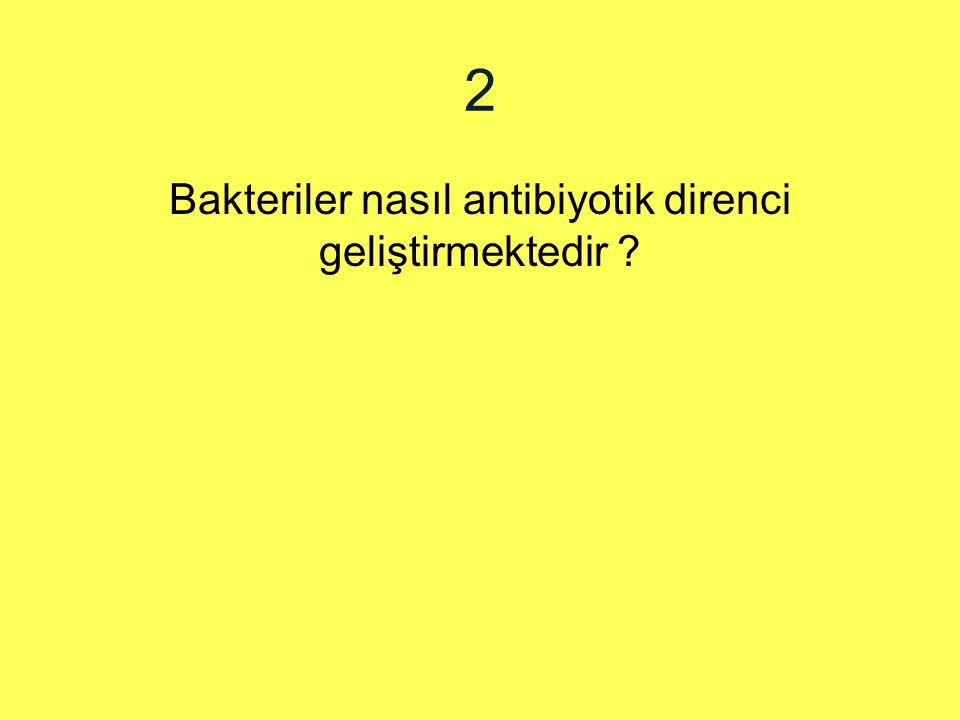 2 Bakteriler nasıl antibiyotik direnci geliştirmektedir ?