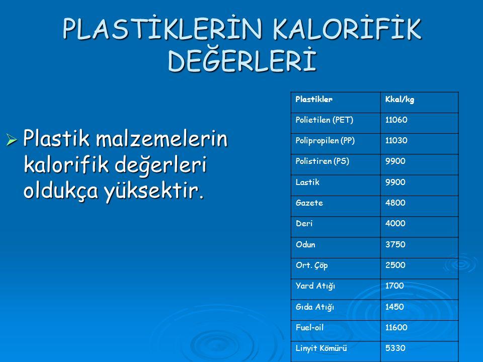 PLASTİKLERİN KALORİFİK DEĞERLERİ  Plastik malzemelerin kalorifik değerleri oldukça yüksektir.