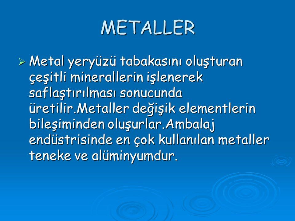 METALLER MMMMetal yeryüzü tabakasını oluşturan çeşitli minerallerin işlenerek saflaştırılması sonucunda üretilir.Metaller değişik elementlerin bileşiminden oluşurlar.Ambalaj endüstrisinde en çok kullanılan metaller teneke ve alüminyumdur.