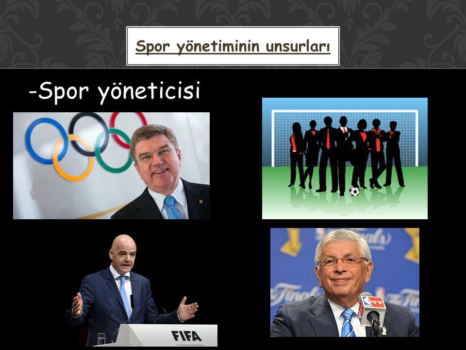 -Spor yöneticisi Spor yönetiminin unsurları