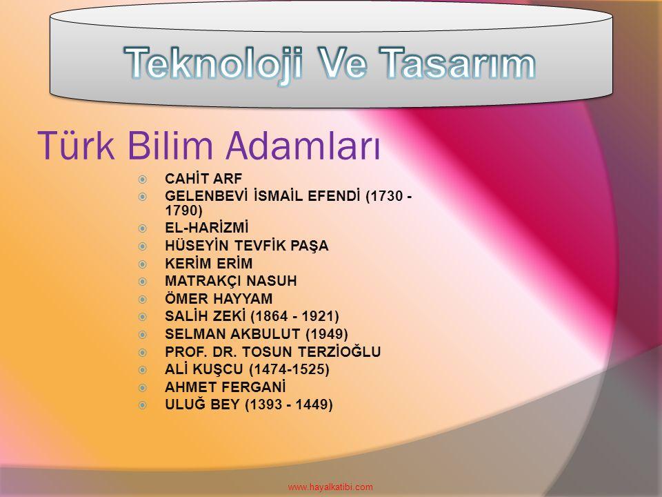 Türk Bilim Adamları  CAHİT ARF  GELENBEVİ İSMAİL EFENDİ (1730 - 1790)  EL-HARİZMİ  HÜSEYİN TEVFİK PAŞA  KERİM ERİM  MATRAKÇI NASUH  ÖMER HAYYAM