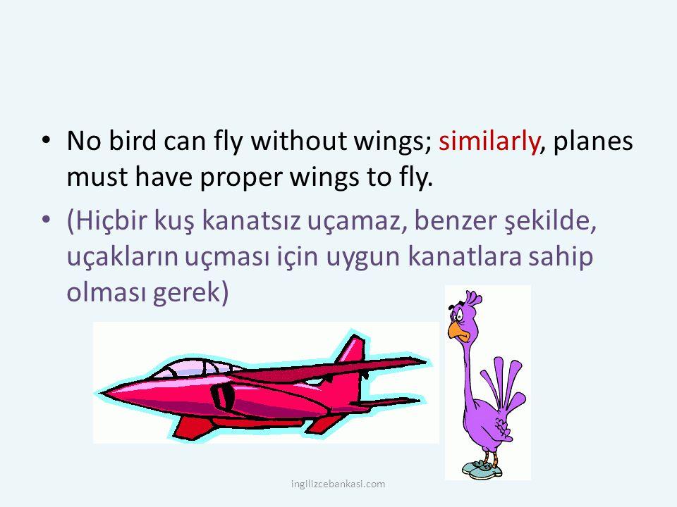 No bird can fly without wings; similarly, planes must have proper wings to fly. (Hiçbir kuş kanatsız uçamaz, benzer şekilde, uçakların uçması için uyg