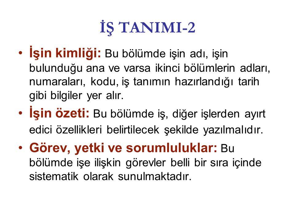 İŞ TANIMI-2 İşin kimliği: Bu bölümde işin adı, işin bulunduğu ana ve varsa ikinci bölümlerin adları, numaraları, kodu, iş tanımın hazırlandığı tarih gibi bilgiler yer alır.