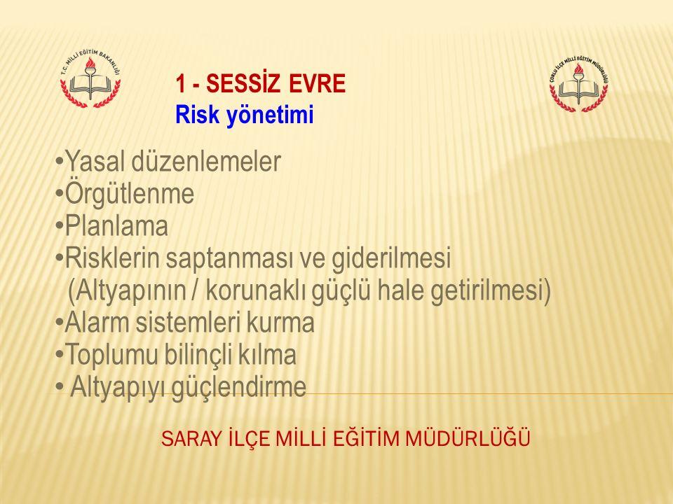 1 - SESSİZ EVRE Risk yönetimi Yasal düzenlemeler Örgütlenme Planlama Risklerin saptanması ve giderilmesi (Altyapının / korunaklı güçlü hale getirilmes