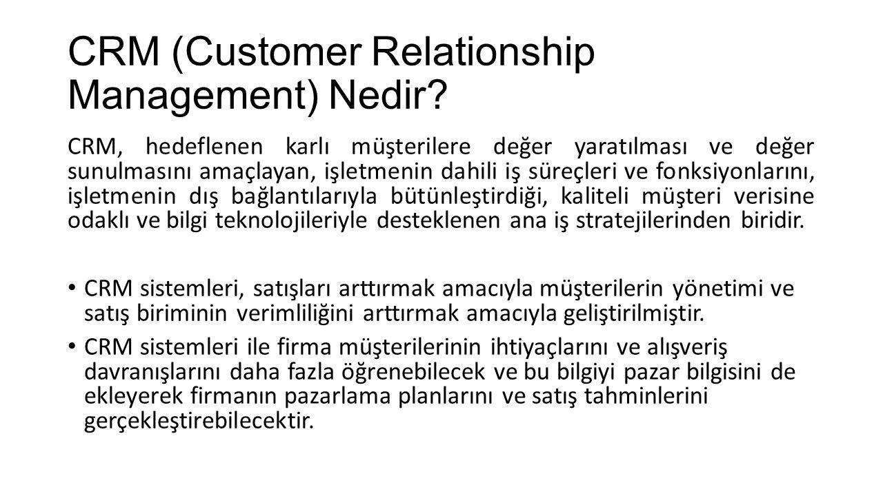 CRM (Customer Relationship Management) Nedir? CRM, hedeflenen karlı müşterilere değer yaratılması ve değer sunulmasını amaçlayan, işletmenin dahili iş