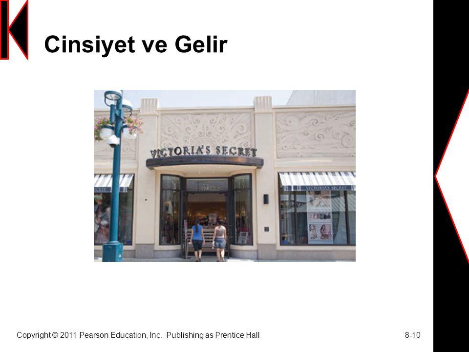 Cinsiyet ve Gelir Copyright © 2011 Pearson Education, Inc. Publishing as Prentice Hall 8-10