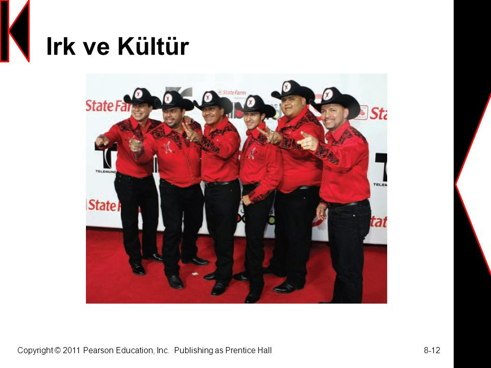 Irk ve Kültür Copyright © 2011 Pearson Education, Inc. Publishing as Prentice Hall 8-12