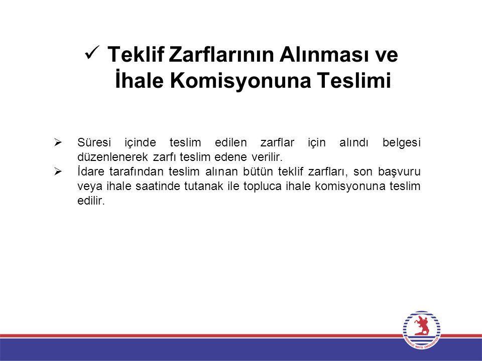 Teklif Zarflarının Alınması ve İhale Komisyonuna Teslimi  Süresi içinde teslim edilen zarflar için alındı belgesi düzenlenerek zarfı teslim edene ver