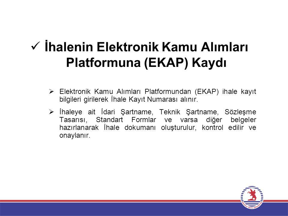İhalenin Elektronik Kamu Alımları Platformuna (EKAP) Kaydı  Elektronik Kamu Alımları Platformundan (EKAP) ihale kayıt bilgileri girilerek İhale Kayıt
