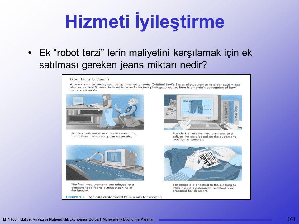MTY 500 – Maliyet Analizi ve Mühendislik Ekonomisi- Bolum1: Mühendislik Ekonomisi Kararları 101 Hizmeti İyileştirme Ek robot terzi lerin maliyetini karşılamak için ek satılması gereken jeans miktarı nedir