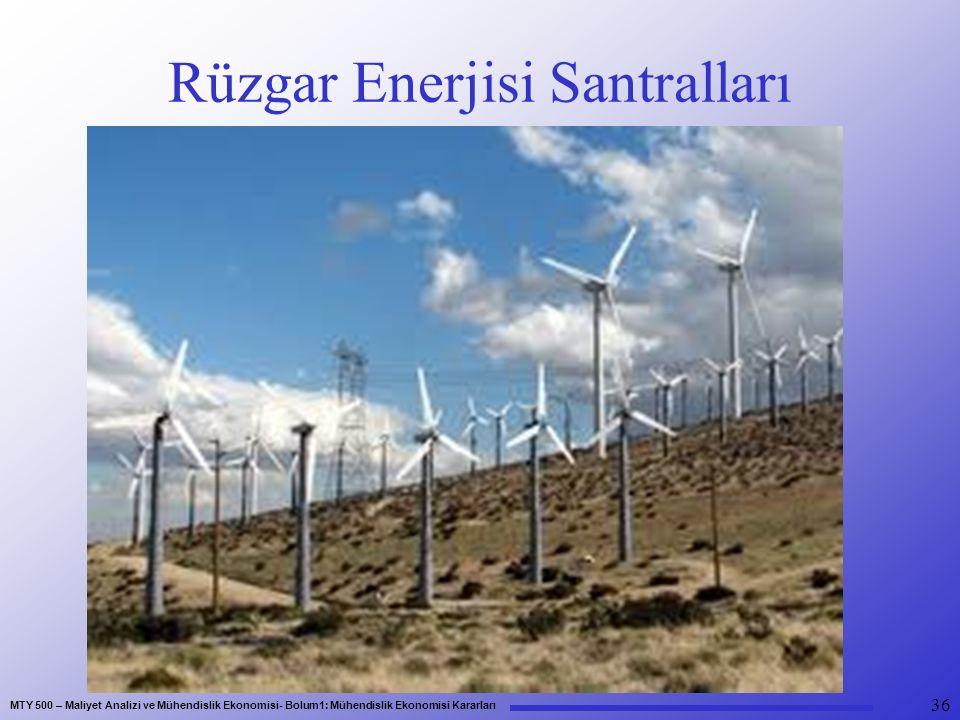 MTY 500 – Maliyet Analizi ve Mühendislik Ekonomisi- Bolum1: Mühendislik Ekonomisi Kararları Rüzgar Enerjisi Santralları 36