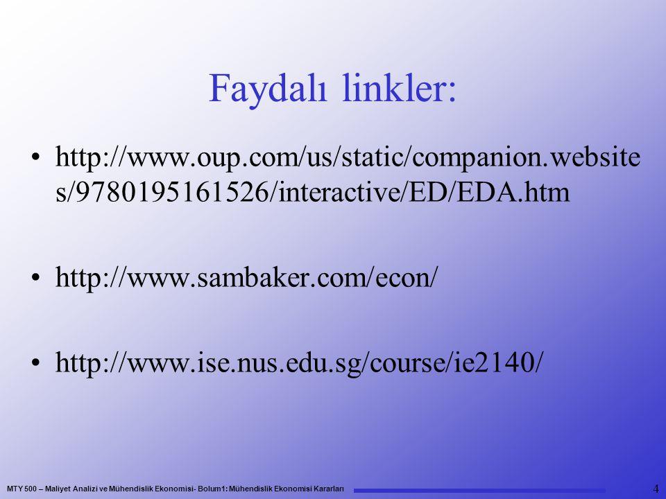 MTY 500 – Maliyet Analizi ve Mühendislik Ekonomisi- Bolum1: Mühendislik Ekonomisi Kararları Faydalı linkler: http://www.oup.com/us/static/companion.website s/9780195161526/interactive/ED/EDA.htm http://www.sambaker.com/econ/ http://www.ise.nus.edu.sg/course/ie2140/ 4