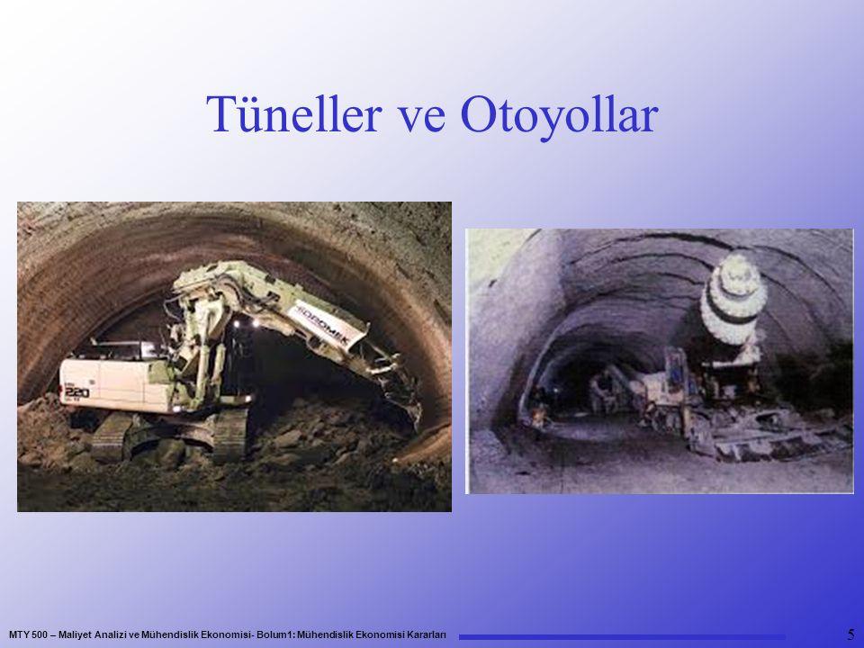 MTY 500 – Maliyet Analizi ve Mühendislik Ekonomisi- Bolum1: Mühendislik Ekonomisi Kararları Tüneller ve Otoyollar 5