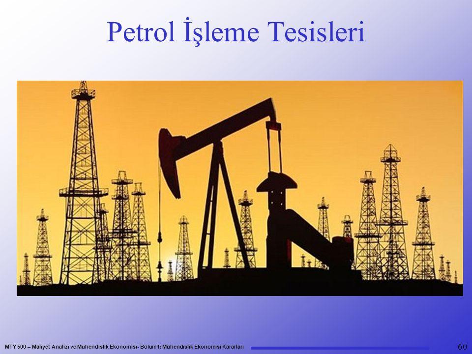MTY 500 – Maliyet Analizi ve Mühendislik Ekonomisi- Bolum1: Mühendislik Ekonomisi Kararları Petrol İşleme Tesisleri 60