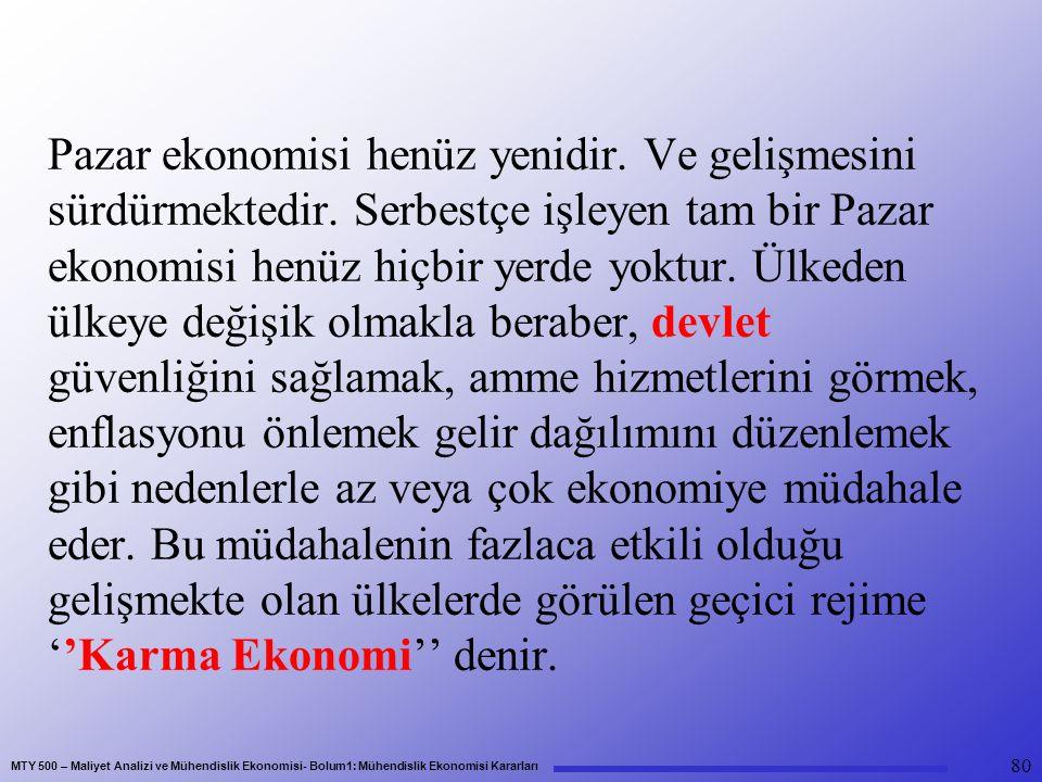 MTY 500 – Maliyet Analizi ve Mühendislik Ekonomisi- Bolum1: Mühendislik Ekonomisi Kararları Pazar ekonomisi henüz yenidir.