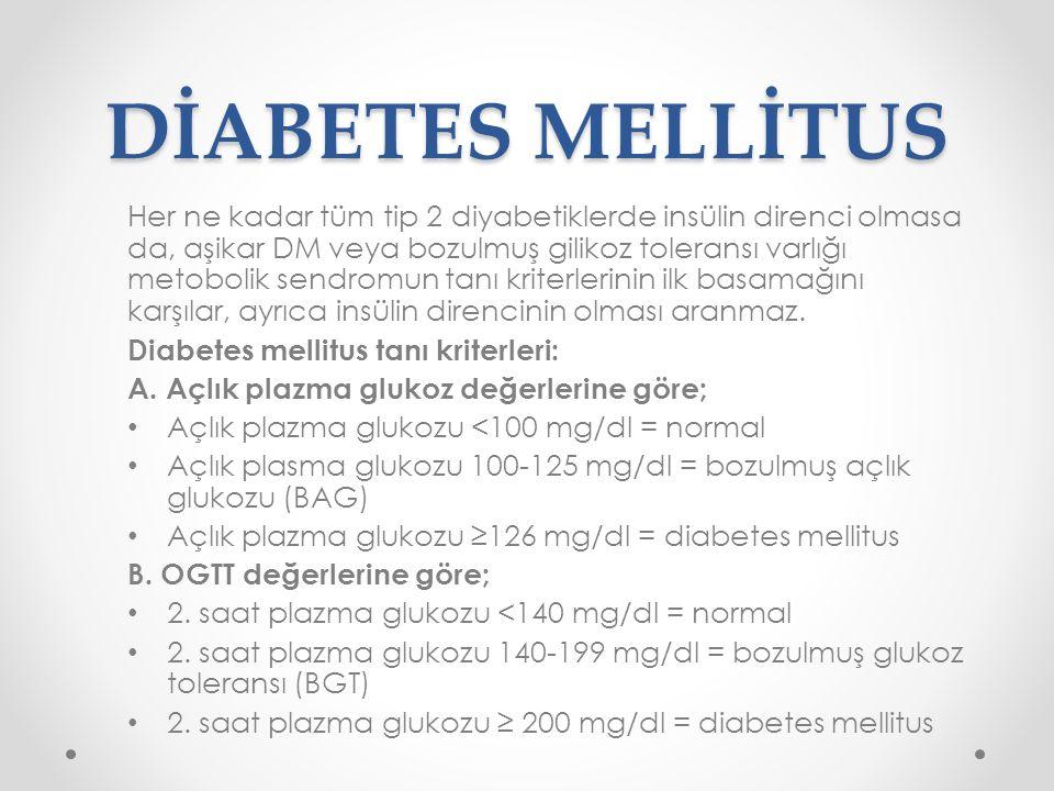 DİABETES MELLİTUS Her ne kadar tüm tip 2 diyabetiklerde insülin direnci olmasa da, aşikar DM veya bozulmuş gilikoz toleransı varlığı metobolik sendrom