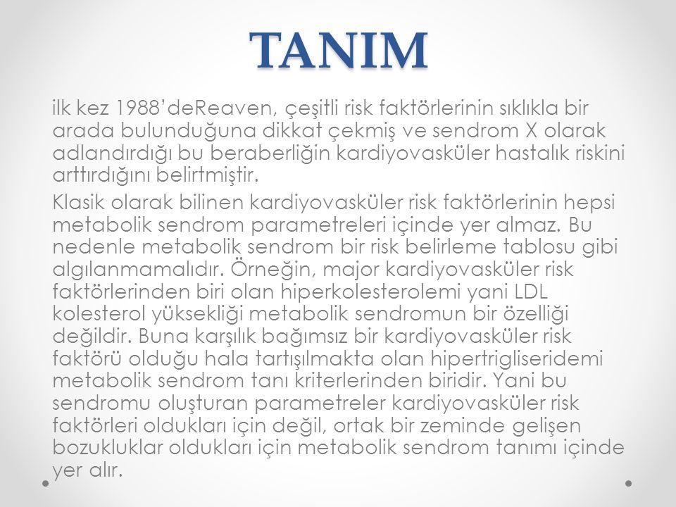 TANIM ilk kez 1988'deReaven, çeşitli risk faktörlerinin sıklıkla bir arada bulunduğuna dikkat çekmiş ve sendrom X olarak adlandırdığı bu beraberliğin