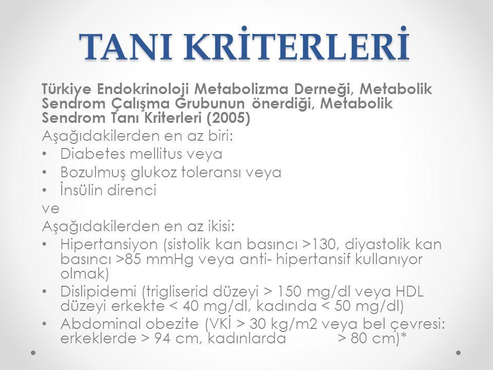 TANI KRİTERLERİ Türkiye Endokrinoloji Metabolizma Derneği, Metabolik Sendrom Çalışma Grubunun önerdiği, Metabolik Sendrom Tanı Kriterleri (2005) Aşağı