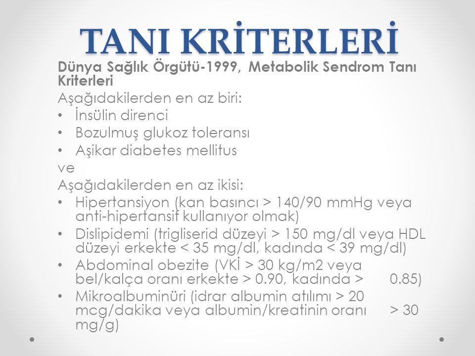 TANI KRİTERLERİ National Cholesterol Education Program (NCEP) Adult Treatment Panel III (ATP III)-2001, Metabolik Sendrom Tanı Kriterleri Aşağıdakilerden en az üçü: Abdominal obezite (bel çevresi: erkeklerde > 102 cm, kadınlarda > 88 cm) Hipertrigliseridemi ( ≥150 mg/dl) Düşük HDL (erkeklerde < 40 mg/dl, kadınlarda < 50 mg/dl) Hipertansiyon (kan basıncı ≥ 130/85 mmHg) Hiperglisemi (açlık kan glukozu ≥ 110 mg/dl)