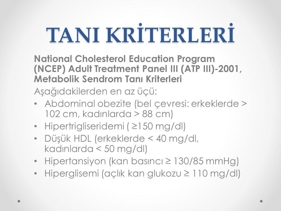 TANI KRİTERLERİ International Diabetes Foundation (IDF)-2005, Metabolik Sendrom Tanı Kriterleri Abdominal obezite (Bel çevresi: Avrupalı erkeklerde ≥ 94 cm, kadınlarda ≥ 80 cm) ve Aşağıdakilerden en az ikisi Trigliserid ≥ 150 mg/dl HDL: erkekte < 40 mg/dl, kadında < 50 mg/dl Kan basıncı ≥ 130/85 mmHg Açlık kan glukozu ≥ 100 mg/dl veya Tip 2 DM