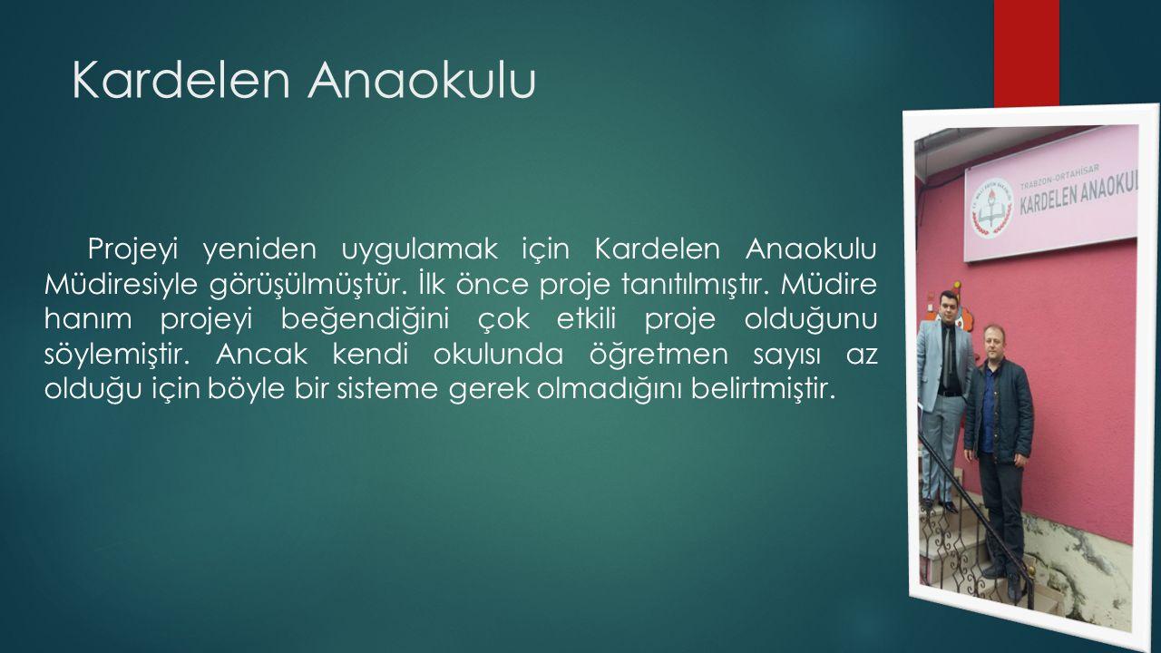 Kardelen Anaokulu Projeyi yeniden uygulamak için Kardelen Anaokulu Müdiresiyle görüşülmüştür.