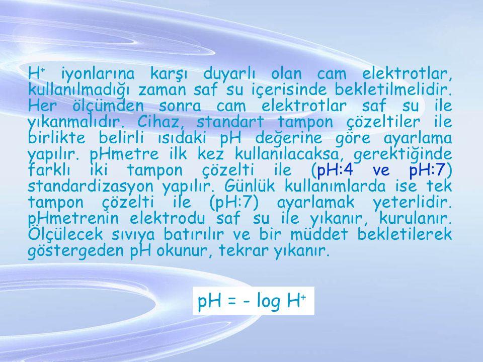 H + iyonlarına karşı duyarlı olan cam elektrotlar, kullanılmadığı zaman saf su içerisinde bekletilmelidir. Her ölçümden sonra cam elektrotlar saf su i