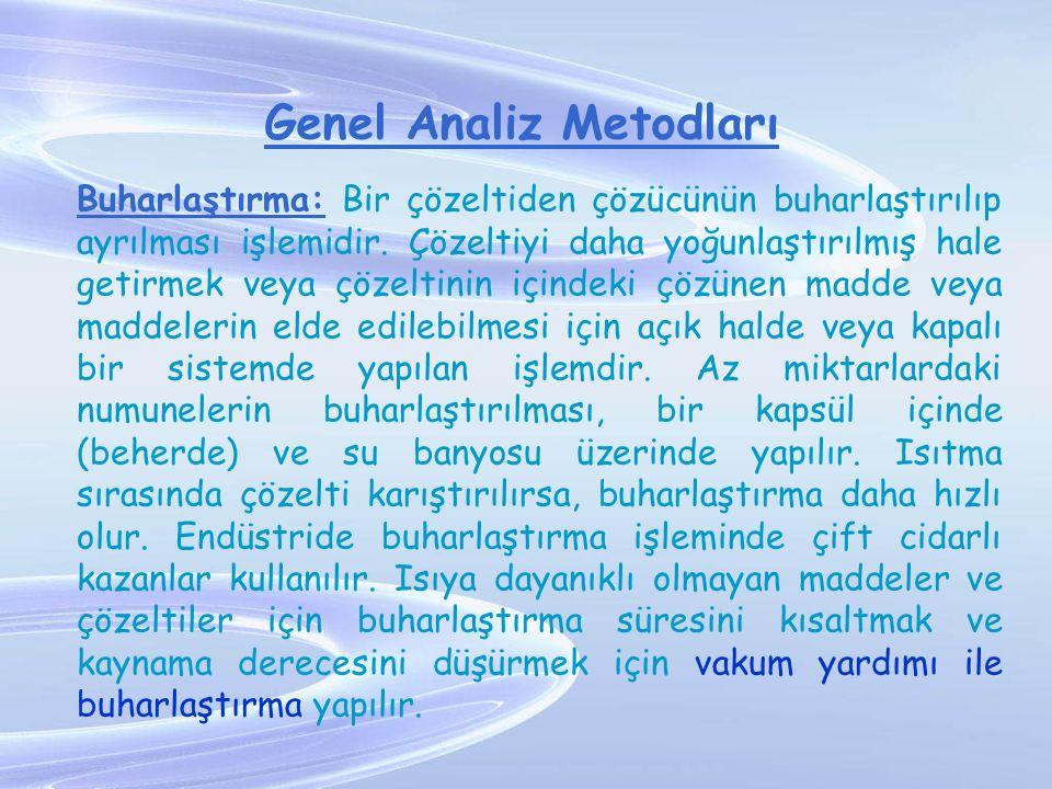Genel Analiz Metodları Buharlaştırma: Bir çözeltiden çözücünün buharlaştırılıp ayrılması işlemidir. Çözeltiyi daha yoğunlaştırılmış hale getirmek veya