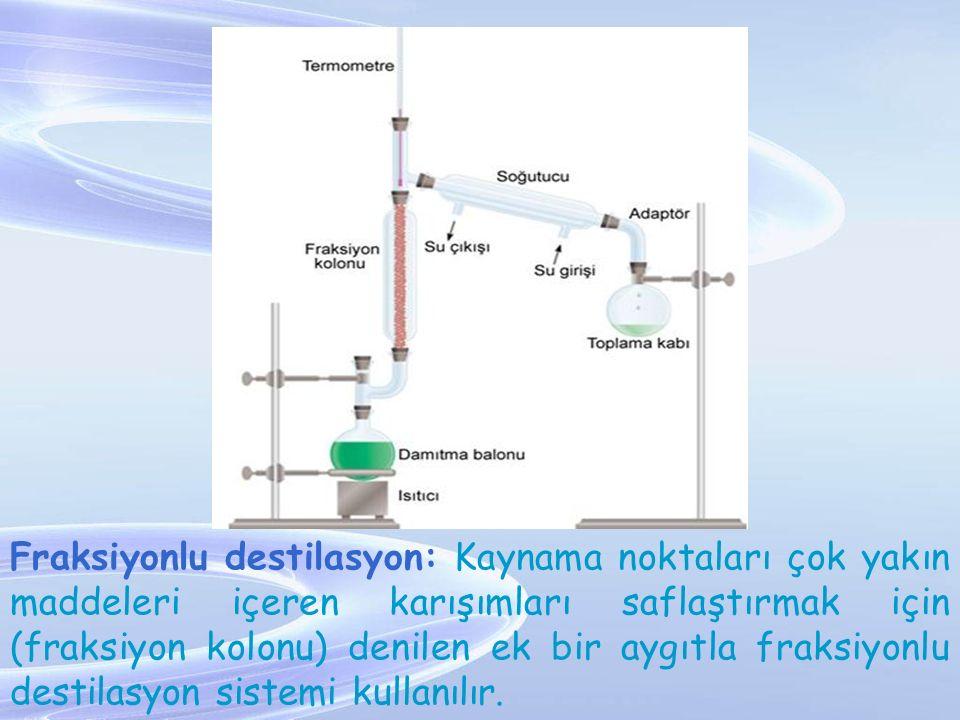 Fraksiyonlu destilasyon: Kaynama noktaları çok yakın maddeleri içeren karışımları saflaştırmak için (fraksiyon kolonu) denilen ek bir aygıtla fraksiyo