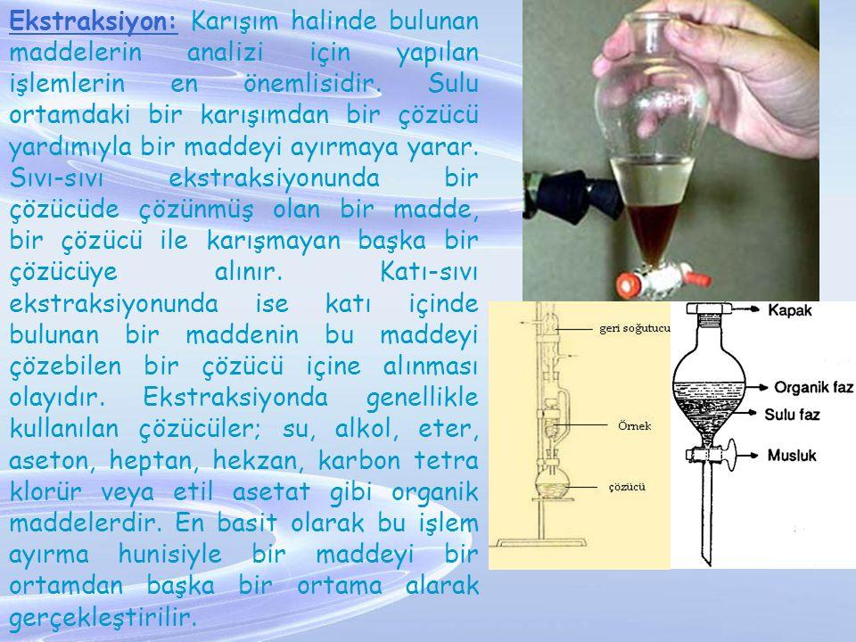 Ekstraksiyon: Karışım halinde bulunan maddelerin analizi için yapılan işlemlerin en önemlisidir. Sulu ortamdaki bir karışımdan bir çözücü yardımıyla b
