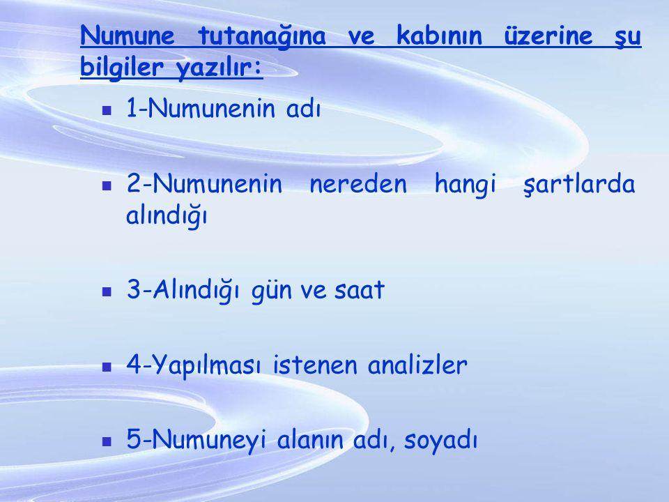 1-Numunenin adı 2-Numunenin nereden hangi şartlarda alındığı 3-Alındığı gün ve saat 4-Yapılması istenen analizler 5-Numuneyi alanın adı, soyadı Numune