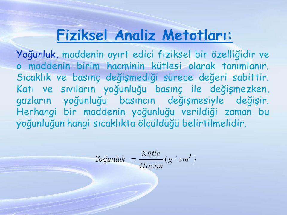 Fiziksel Analiz Metotları: Yoğunluk, maddenin ayırt edici fiziksel bir özelliğidir ve o maddenin birim hacminin kütlesi olarak tanımlanır. Sıcaklık ve