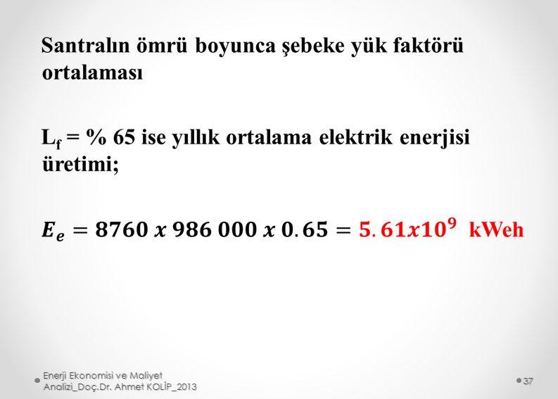 Enerji Ekonomisi ve Maliyet Analizi_Doç.Dr. Ahmet KOLİP_2013 37