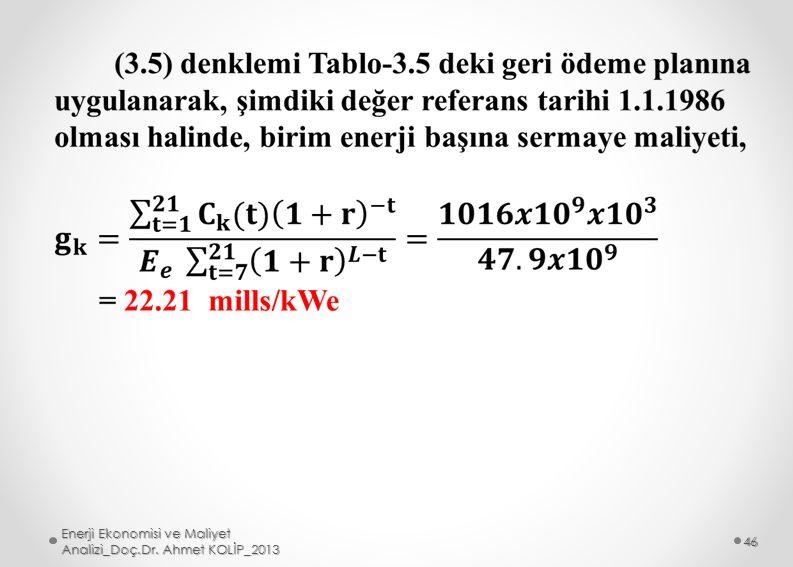 Enerji Ekonomisi ve Maliyet Analizi_Doç.Dr. Ahmet KOLİP_2013 46