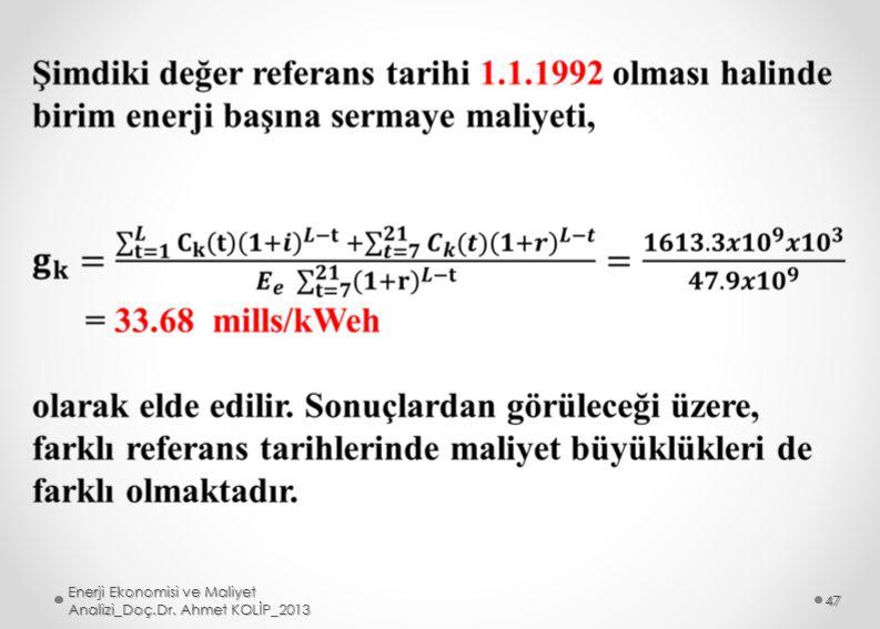 Enerji Ekonomisi ve Maliyet Analizi_Doç.Dr. Ahmet KOLİP_2013 47