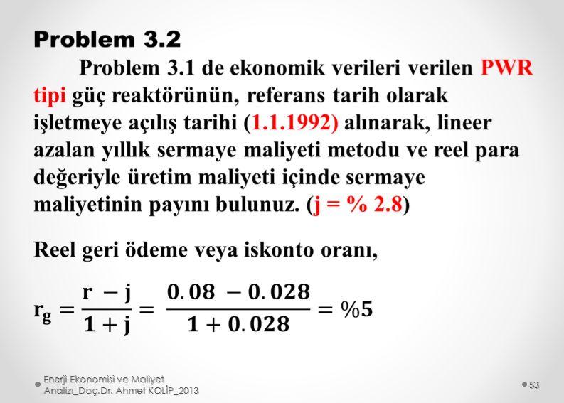 Enerji Ekonomisi ve Maliyet Analizi_Doç.Dr. Ahmet KOLİP_2013 53