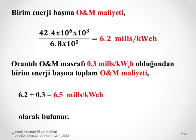 Enerji Ekonomisi ve Maliyet Analizi_Doç.Dr. Ahmet KOLİP_2013 61