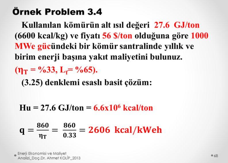 Enerji Ekonomisi ve Maliyet Analizi_Doç.Dr. Ahmet KOLİP_2013 68