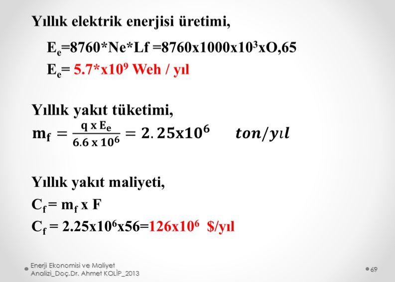 Enerji Ekonomisi ve Maliyet Analizi_Doç.Dr. Ahmet KOLİP_2013 69