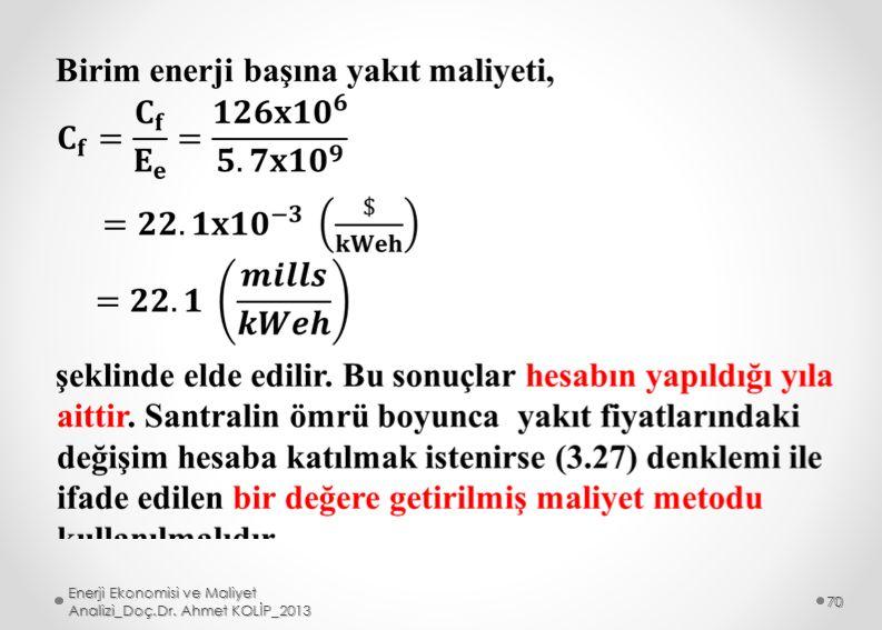 Enerji Ekonomisi ve Maliyet Analizi_Doç.Dr. Ahmet KOLİP_2013 70