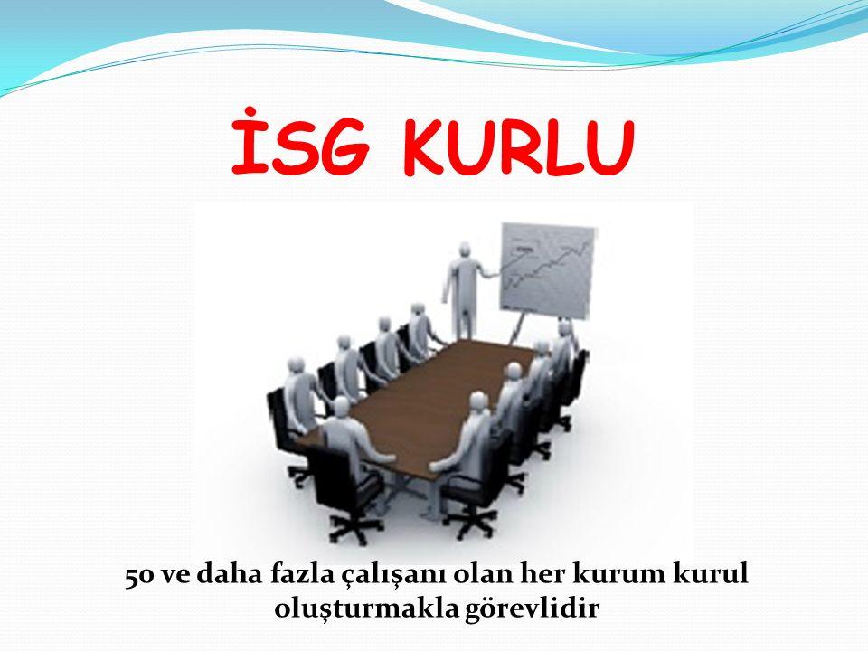 İSG KURLU 50 ve daha fazla çalışanı olan her kurum kurul oluşturmakla görevlidir