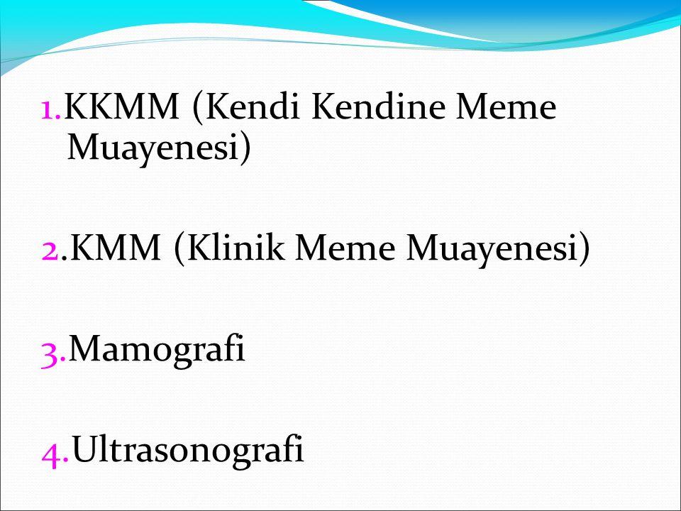 1.KKMM (Kendi Kendine Meme Muayenesi) 2.KMM (Klinik Meme Muayenesi) 3.Mamografi 4.Ultrasonografi