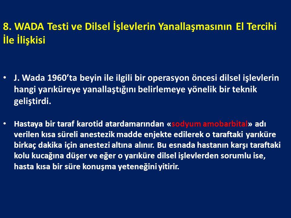 8. WADA Testi ve Dilsel İşlevlerin Yanallaşmasının El Tercihi İle İlişkisi J. Wada 1960'ta beyin ile ilgili bir operasyon öncesi dilsel işlevlerin han