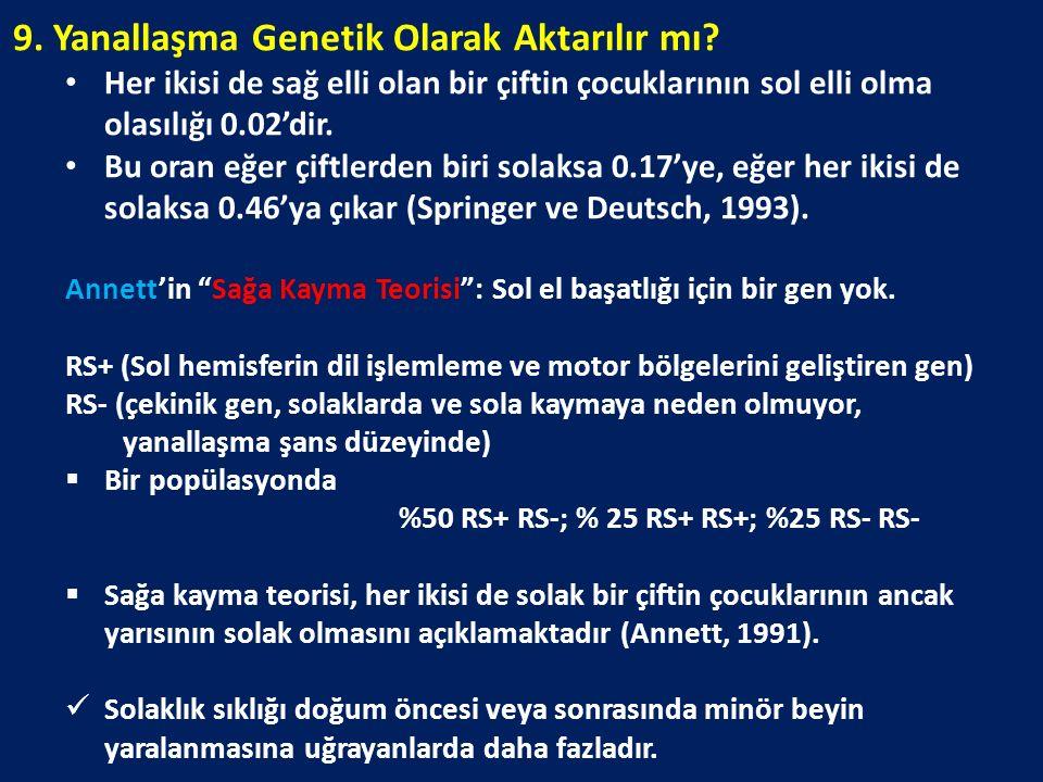 9. Yanallaşma Genetik Olarak Aktarılır mı? Her ikisi de sağ elli olan bir çiftin çocuklarının sol elli olma olasılığı 0.02'dir. Bu oran eğer çiftlerde