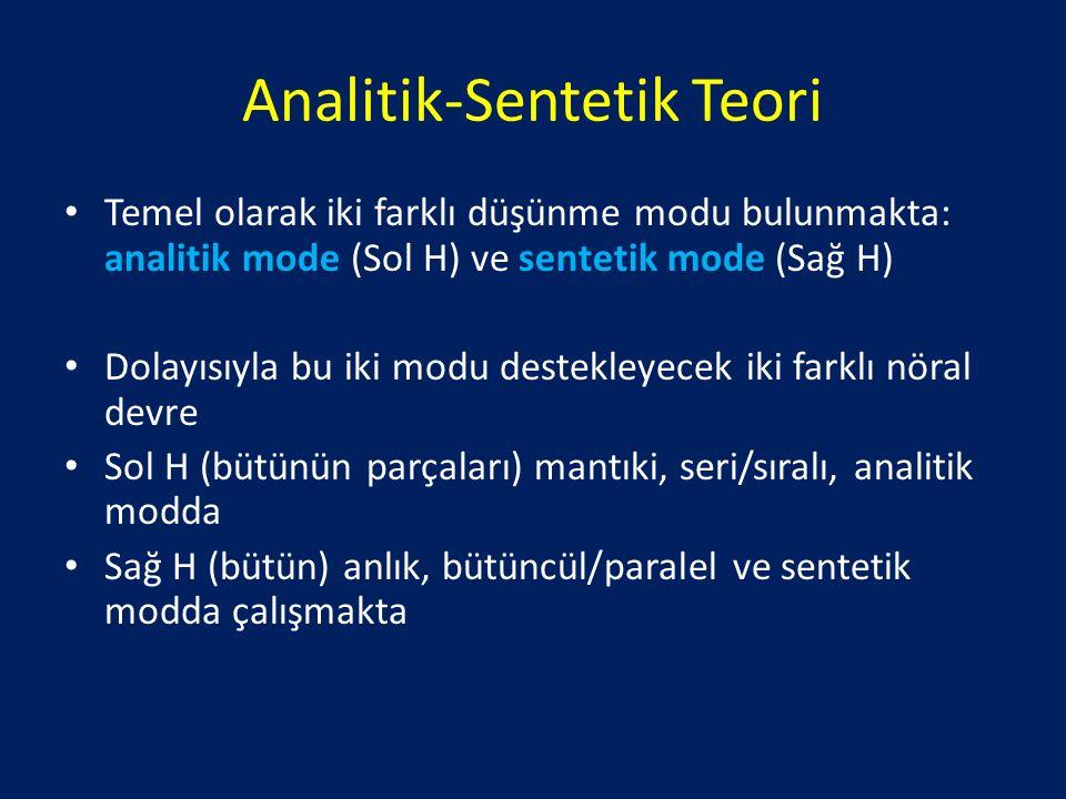 Analitik-Sentetik Teori Temel olarak iki farklı düşünme modu bulunmakta: analitik mode (Sol H) ve sentetik mode (Sağ H) Dolayısıyla bu iki modu destekleyecek iki farklı nöral devre Sol H (bütünün parçaları) mantıki, seri/sıralı, analitik modda Sağ H (bütün) anlık, bütüncül/paralel ve sentetik modda çalışmakta