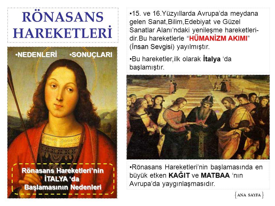 RÖNASANS HAREKETLERİ HÜMANİZM AKIMI İnsan Sevgisi15. ve 16.Yüzyıllarda Avrupa'da meydana gelen Sanat,Bilim,Edebiyat ve Güzel Sanatlar Alanı'ndaki yeni