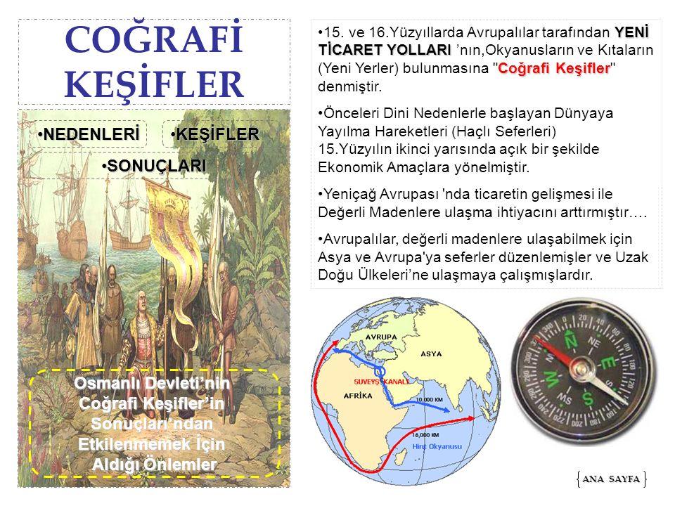 COĞRAFİ KEŞİFLER YENİ TİCARET YOLLARI Coğrafi Keşifler15. ve 16.Yüzyıllarda Avrupalılar tarafından YENİ TİCARET YOLLARI 'nın,Okyanusların ve Kıtaların