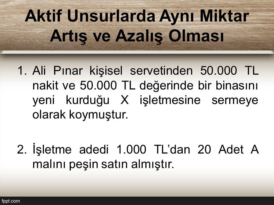 Aktif Unsurlarda Aynı Miktar Artış ve Azalış Olması 1.Ali Pınar kişisel servetinden 50.000 TL nakit ve 50.000 TL değerinde bir binasını yeni kurduğu X