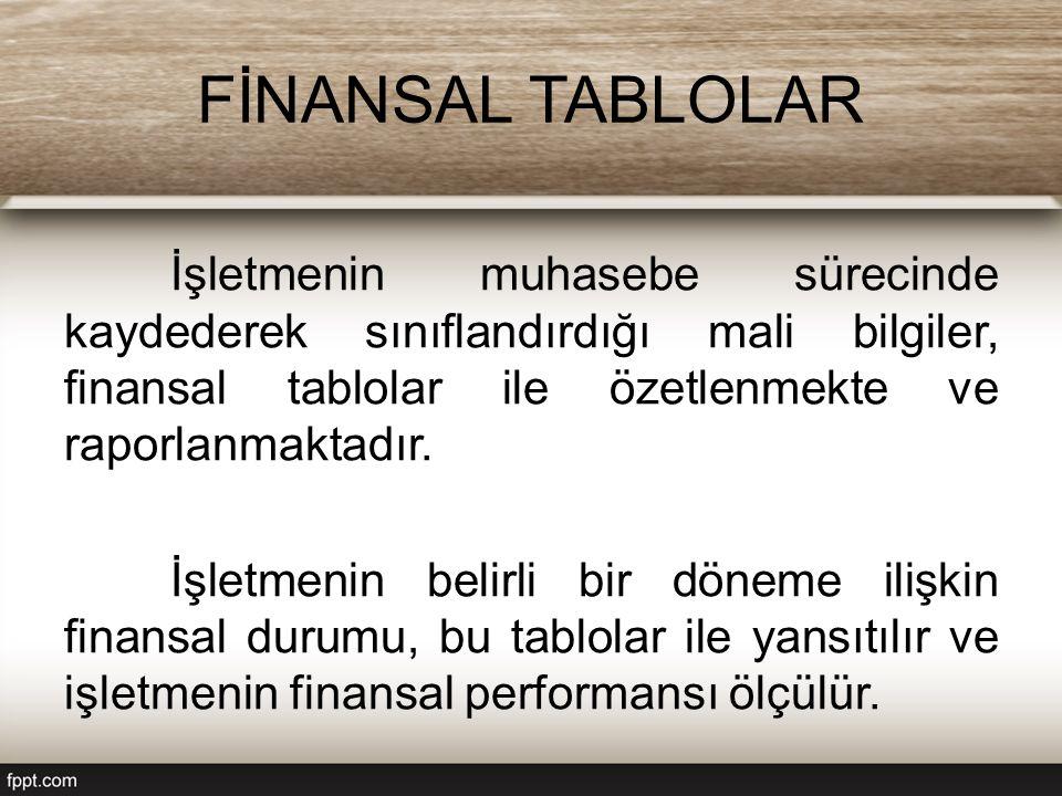 FİNANSAL TABLOLAR İşletmenin muhasebe sürecinde kaydederek sınıflandırdığı mali bilgiler, finansal tablolar ile özetlenmekte ve raporlanmaktadır. İşle