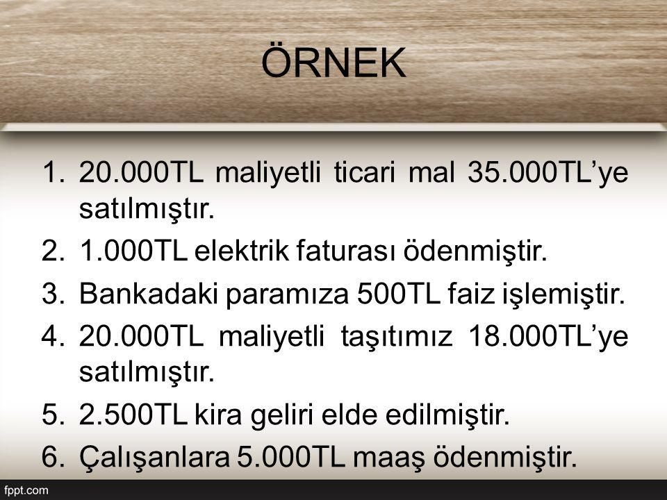 ÖRNEK 1.20.000TL maliyetli ticari mal 35.000TL'ye satılmıştır. 2.1.000TL elektrik faturası ödenmiştir. 3.Bankadaki paramıza 500TL faiz işlemiştir. 4.2