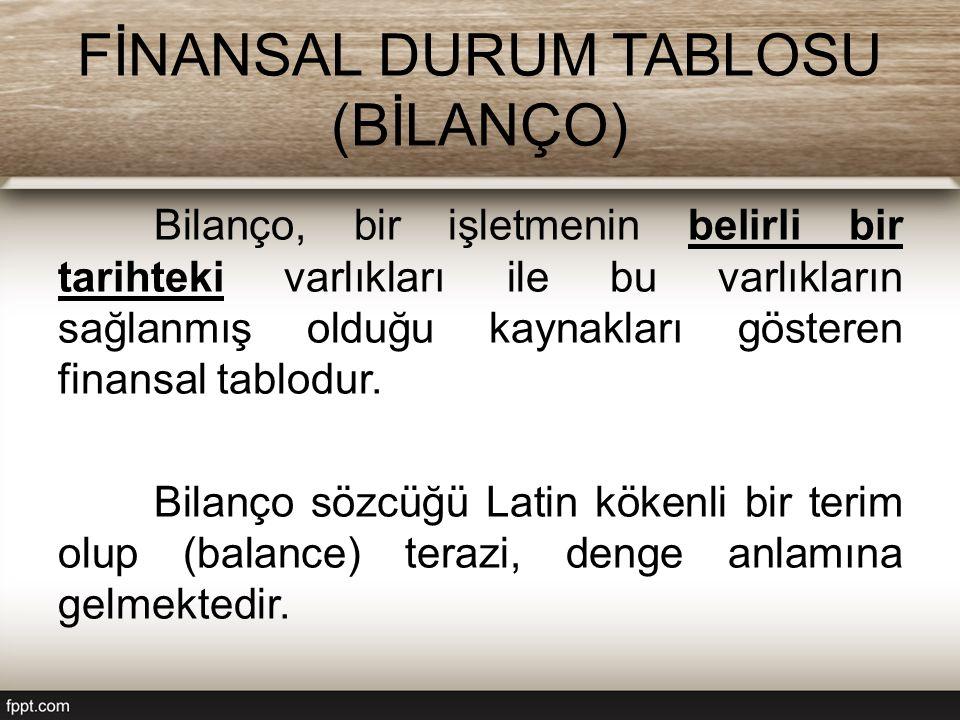 FİNANSAL DURUM TABLOSU (BİLANÇO) Bilançonun sol tarafına AKTİF ; sağ tarafına ise PASİF adı verilmektedir.